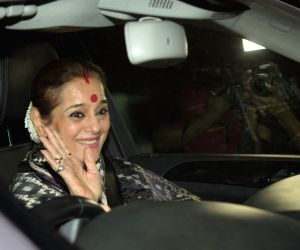 "Mumbai: Actress Sonashi Sinha`s mother Poonam Sinha arrives at the special screening of film ""Padmaavat"" in Mumbai on Jan 25, 2018. (Photo: IANS)"