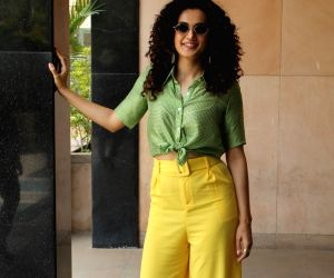 """Mumbai: Actress Taapsee Pannu during the promotion of her upcoming film """"Game Over"""", in Mumbai, on June 3, 2019. (Photo: IANS)"""