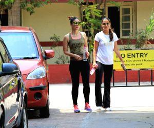 Mumbai: Actresses Kareena Kapoor Khan and Amrita Arora seen at a gym in Mumbai on April 4, 2018. (Photo: IANS)