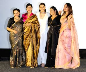 "Mumbai: Actresses Taapsee Pannu, Sonakshi Sinha, Kirti Kulhari, Vidya Balan and Nithya Menon at the trailer launch of their upcoming film ""Mission Mangal"" in Mumbai, on July 18, 2019. (Photo: IANS)"