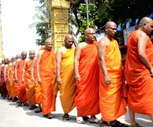 Buddhist monks arrive at Chaitya Bhoomi