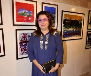 Farah Khan during the inauguration of an art exhibition
