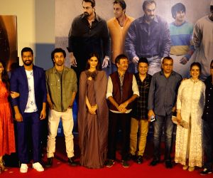 : Mumbai: Filmmakers Rajkumar Hirani and Vidhu Vinod Chopra with actors Diya Mirza, Vicky Kaushal, Ranbir Kapoor, Sonam Kapoor, Paresh Rawal and Manisha Koirala and T-Series MD Bhushan Kumar at the ...