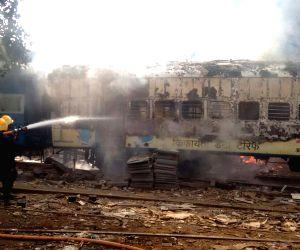 Train catches fire in Mumbai