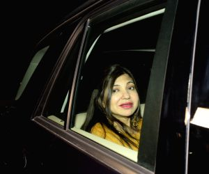 "Mumbai: Playback Singer Alka Yagnik arrives at the special screening of film ""Padmaavat"" in Mumbai on Jan 25, 2018. (Photo: IANS)"