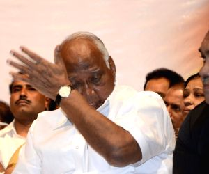 Senior Nationalist Congress Party (NCP) leaders mourn the death of R R Patil