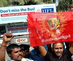 Tamils protest against Salman Khan in Mumbai