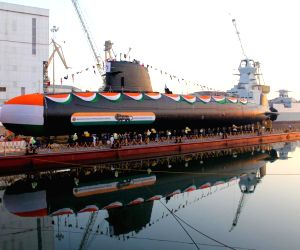 Mumbai: The second Scorpene class submarine 'Khanderi' of the Project 75 that was delivered by the Mazagon Dock Shipbuilders Ltd (MDL) to the Indian Navy at a ceremony in Mumbai on Sep 19, 2019. It will soon be commissioned into the Indian Navy for n