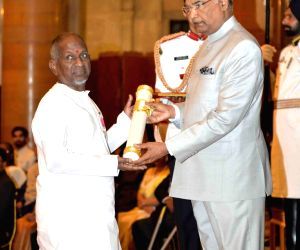 Music maestro Ilayaraja receives Padma Vibhushan from President Ram Nath Kovind at the Civil Investiture Ceremony, at Rashtrapati Bhavan, in New Delhi on March 20, 2018.