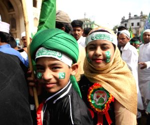 Muslims observe Eid-e-Milad-un-Nabi - birth as well as death anniversary of Prophet Muhammad in Hyderabad on Dec 12, 2016.