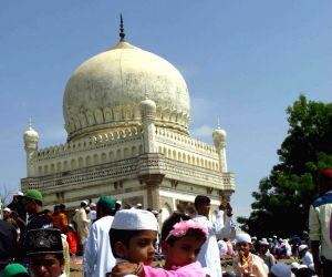 Muslims offering Eid prayer at historic Golconda tombs