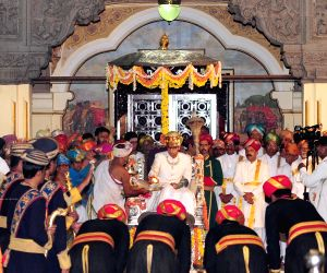 Yaduveer Krishnadatta Chamaraja Wadiyar seated on the 'silver throne'