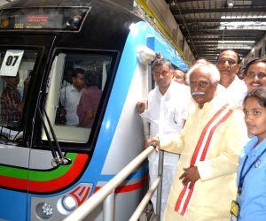 Bandaru Dattatreya at Hyderabad Metro Rail depot