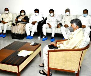 Nara Chandra Babu Naidu TDP  SUPREMO  holding a meeting with TDP-TS Leaders at his Residence in Hyderabad.