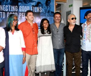 Naseeruddin Shah, Nandita Das, Javed Jaffrey, directors Rajkumar Hirani and Rahul Dholakia during a press announcement for 'Films For Change' initiative organised by Good Pitch India in ...