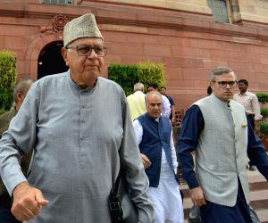 National Conference MPs Omar Abdullah, Farooq Abdullah and Hasnain Masoodi at Parliament in New Delhi on Aug 1, 2019.