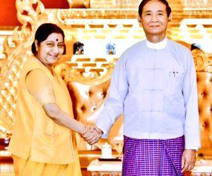 :Nay Pyi Taw: External Affairs Minister Sushma Swaraj calls on Myanmar President U Win Myint, Nay Pyi Taw, Myanmar on May 10, 2018. (Photo: IANS/MEA).