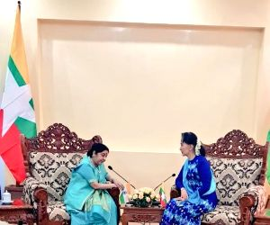 :Nay Pyi Taw: External Affairs Minister Sushma Swaraj meets the State Counsellor and Foreign Minister of Myanmar Aung San Suu Kyi and discuss issues of bilateral interest in Nay Pyi Taw on May 11, ...