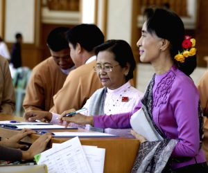 Nay Pyi Taw (Myanmar): Aung San Suu Kyi speaks to media after attending the 11th regular session of the Union Parliament