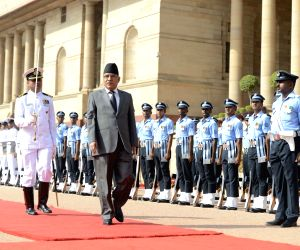 Ceremonial reception for Dahal at Rashtrapati Bhavan