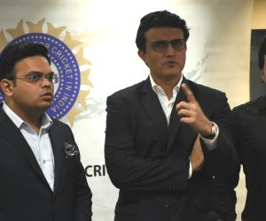 Sourav Ganguly with his team at BCCI headquarters