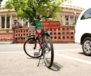 Parked bicycle of BJP MP at Parliament House