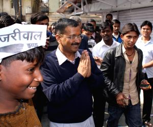 Arvind Kejriwal during election campaign