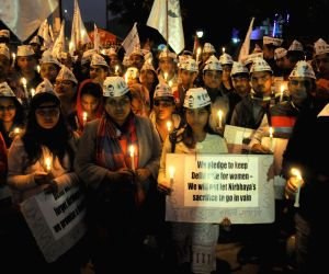 Chhatra Yuva Sangharsh Samiti's candlelight vigil to condemn the 2012 Nirbhaya gangrape