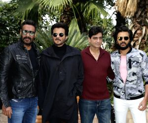 """New Delhi: Actors Ajay Devgn, Anil Kapoor and Riteish Deshmukh with director Indra Kumar at the promotional interview of their upcoming film """"Total Dhamaal"""" in New Delhi, on Feb 18, 2019. (Photo: Amlan Paliwal/IANS)"""
