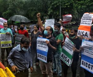 AISA activists protest outside Haryana Bhawan against the demolition of houses in Khori village in Faridabad by the Haryana government, in New Delhi