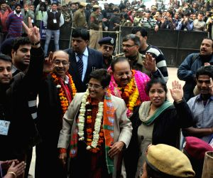 Kiran Bedi files nomination papers for upcoming Delhi assembly polls