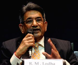 New Delhi: Chairman of the Supreme Court Committee on Reforms in Cricket Justice (retd.) R M Lodha addresses a press conference  in New Delhi on Jan 4, 2016. (Photo: IANS)