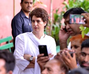 New Delhi: Congress General Secretary Priyanka Gandhi at Congress headquarters to pay homage to veteran Congress leader and three-time Chief Minister Sheila Dikshit, in New Delhi on July 21, 2019. Dikshit was the Congress President in Delhi when she