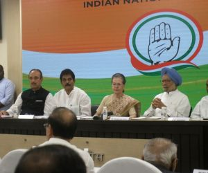 New Delhi: Congress interim President Sonia Gandhi with party leaders Ghulam Nabi Azad, K. C. Venugopal, Dr Manmohan Singh and A. K. Antony during a meeting of party general secretaries, state in-charges, state unit chiefs and others at party Headqua