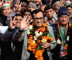Ajay Maken during an election campaign in Kishan Ganj