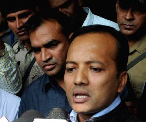 Naveen Jindal talks to press after meeting Delhi Police Commissioner