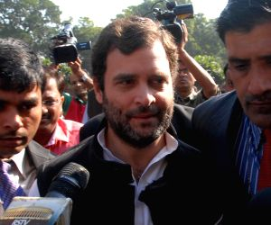 Rahul Gandhi leads a Congress demonstration against NDA government
