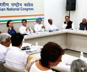 New Delhi: Congress leaders Priyanka Gandhi Vadra, Jyotiraditya Scindia, Oommen Chandy, K. C. Venugopal, Sonia Gandhi, Rahul Gandhi, Manmohan Singh, A.K. Antony, Ghulam Nabi Azad and Ambika Soni during the Congress Working Committee (CWC) meeting at