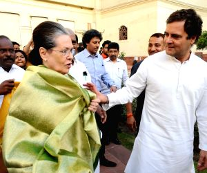 New Delhi: Congress leaders Rahul Gandhi and Sonia Gandhi after UPA leaders' meeting at Parliament in New Delhi on June 18, 2019. (Photo: IANS)
