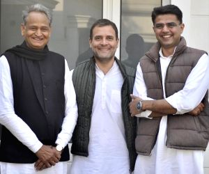 : New Delhi: Congress President Rahul Gandhi with party leaders Ashok Gehlot and Sachin Pilot in New Delhi on Dec 14, 2018. (Photo: IANS).