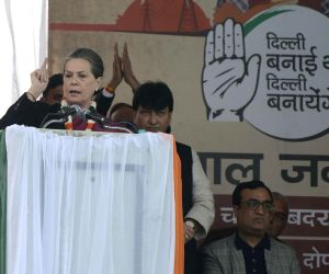 Sonia Gandhi addresses Congress Rally