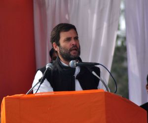 Rahul Gandhi during an election rally