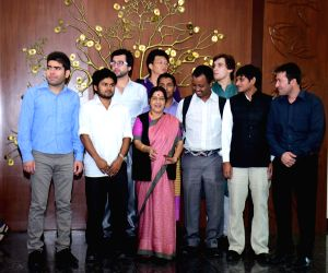 Sushma Swaraj meets a group of foreign students