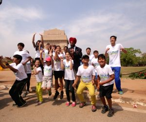 Milkha Singh during a programme at the India Gate