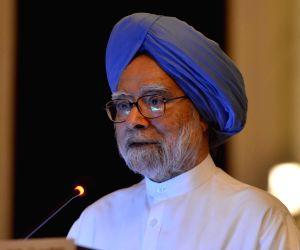 "New Delhi: Former Prime Minister Manmohan Singh addresses at the launch of Former Rajya Sabha MP Karan Singh's book ""An Examined Life"" in New Delhi, on May 20, 2019. (Photo: IANS)"
