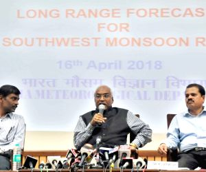 ":New Delhi: India Meteorological Department (IMD), Director General of Meteorology Dr. K.J. Ramesh briefs the media on 1st stage ""Long Range Forecast for Southwest Monsoon Rainfall - 2018"" in New ..."