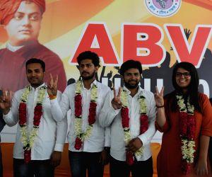 New Delhi: (L-R) Akhil Bharatiya Vidyarthi Parishad (ABVP) candidates for the upcoming elections to the Delhi University Students Union (DUSU) - Akshit Dahiya for President, Pradeep Tanwar for Vice-President, Yogit Rathi for Secretary and Shivangi Kh