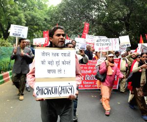 Left party demonstration against anti-people policies of the Union Government