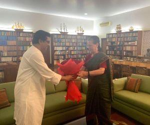 New Delhi: Maharashtra Navnirman Sena (MNS) President Raj Thackeray meets UPA Chairperson Sonia Gandhi at her residence, in New Delhi on July 8, 2019. (Photo: IANS)