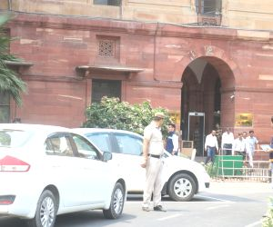 New Delhi: Members of the Delhi Police's Crime branch at the North Block where a Rajasthan Armed Constabulary (RAC) head constable deployed outside the Union Finance Ministry allegedly shot himself with his service weapon, in New Delhi on June 25, 20